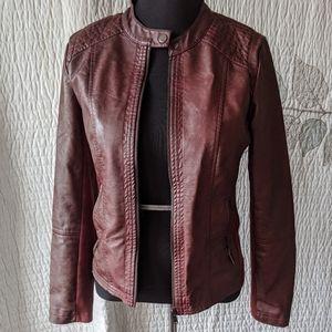 Sebby Collection Scuba Style Vegan Leather Jacket